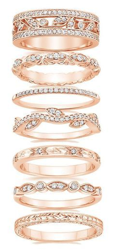 Fancy diamond rose gold #wedding bands to fit with engagement rings