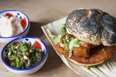 Chicken burger with Emmental cheese, spicy salsa & paprika mayo