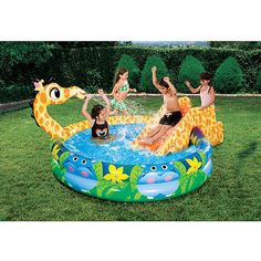 Wet and Wild Toys for Summer: Banzai Slide 'N Spray Giraffe Pool from Toys R Us.
