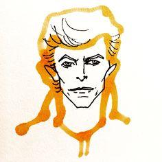 David Bowie by Marie Åhfeldt, Mås Illustra. www.masillustra.se #DavidBowie #RipBowie #portrait #illustration #masillustra
