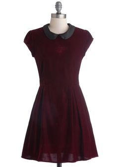 Poise Will Be Poise Dress - Mid-length, Red, Black, Solid, Peter Pan Collar, Party, A-line, Cap Sleeves, Better, Collared