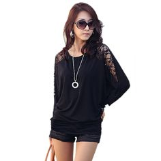Fashion New women elegant white black Lace Hollow Out Blouse casual batwing long sleeve shirts O-neck tops 63 #Affiliate