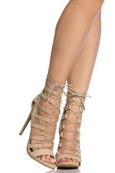 Nude Faux Nubuck Lace Up Open Toe Heels @ Cicihot Heel Shoes online store sales:Stiletto Heel Shoes,High Heel Pumps,Womens High Heel Shoes,Prom Shoes,Summer Shoes,Spring Shoes,Spool Heel,Womens Dress Shoes