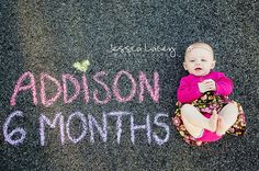 Six Months Baby Girl Chalk Photo   This could be a cool idea for a studio! [invest in some material and chalkboard paint it] @Sarah Chintomby Chintomby Pierce