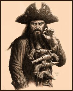 Blackbeard is the most popular (or most notorious) pirate in history. Several historians believe that his real name was Edward Teach and he was a pirate that terrorized areas around West Indies and on the American colonies eastern coast. Pirate Art, Pirate Life, Pirate Ships, Pirate Crafts, Pirate Theme, Origins Of Nursery Rhymes, Bateau Pirate, Black Sails, Jolly Roger
