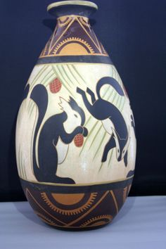 Rare antique art deco Squirrels vase by charles CATTEAU for BOCH KERAMIS 1923