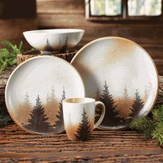 Misty Forest Dinnerware Set pcs) - This crisp white porcelain dinnerware with a lakeside forest scene brings the peace of nature to your table. Sixteen-piece set includes four dinner plates, four salad plates, four soup bowls and four mugs.