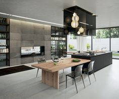 Black and Grey open design kitchen, wood table, pendant lights | Arrital Kitchens AK 04 photo