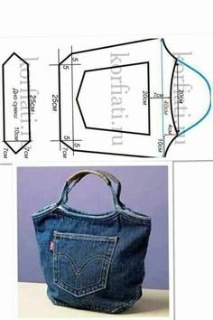 Great idea to make a jean handbag.  Pattern measurements are included on picture so you can make it with ease.:
