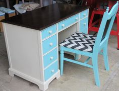 Hand Painted Desk with Dark Stained Top by RefaireHomeDecor, $253.00