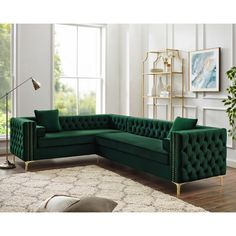 Our velvet left facing corner sectional sofa will give your home the renaissance it deserves. Comfort and style is evident in this dynamic sofa. This sectional features rich hued button tufted velvet fabric with contrasting nailhead trim accenting cl Living Room Sofa, Formal Living Rooms, Living Room Decor, Green Living Room Furniture, Sectional Sofa With Chaise, Sofa Set, White Sectional, L Shaped Sofa, Corner Sofa