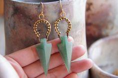 Jade and Gold Arrow Earrings Gold Vermeil Earrings by LaodDesigns