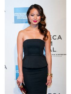 Jamie Chung's pink lip is having a moment.
