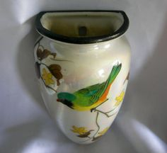 Hand Painted Iridescent Lusterware Wall Pocket with Bird Motif | Marked Hand Painted Made in JAPAN | Vintage