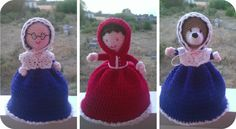 This is the crochet topsy turvy doll I'm working on :) it's my own pattern too :) you flip the skirt over and she turns from red riding hood to the granny and you turn the bonnet round and she becomes the wolf :) x