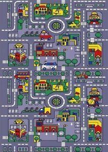 Negro Alfombra infantil de juego dise/ño de mapa de la ciudad y ciudad