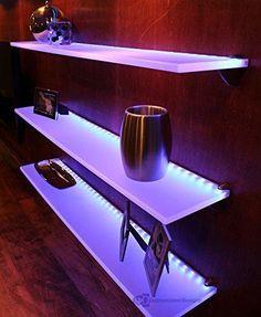 "LED Liquor Bottle Display Shelf - 2' Long x 4.5"" Deep w/ Power Supply & LED Controller Programmable LED Remote Control"