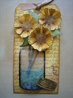 Craft Stamper Magazine - Gallery Designer: Daniele Sunflowers in a acetate jar.
