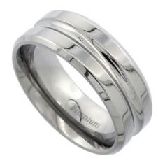 Men's Comfort Fit Titanium Wedding Band 8mm Deep Groove Design