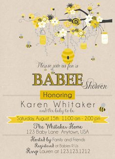 Bumble Bee Baby Shower Invitation BEE Invitations Mommy To Honey Printable