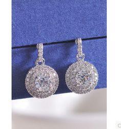 Top Quality Micro Inlay Swiss Zircon Round Drop Earrings Womens 2014 Luxury Best Gift 11.99$