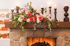 The fireplace in The Hydrangea Cottage at San Ysidro Ranch