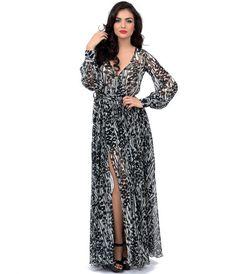 Style White Black Palm Tree Long Sleeve Maxi Dress