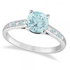 Allurez Cathedral Aquamarine & Diamond Engagement Ring 14k White Gold... (1,605 CAD) ❤ liked on Polyvore featuring jewelry, rings, 14k ring, blue engagement rings, 14k white gold ring, diamond band ring and round cut engagement rings