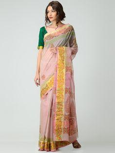 Buy Pink Green Yellow Block printed Kota Doria Saree with Zari Border Cotton Sarees Floral Flourish beautiful prints in fresh hues Online at Jaypore.com