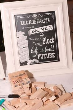 LOVE this wedding sign for a jenga guest book alternative