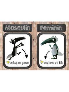 Fichier PDF Loup - Féminin et masculin.pdf French Alphabet, Cycle 3, Language, Teaching, School, Kids, Decorated Letters, Wolves, Short Stories
