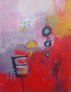 Modern Abstract Painting in red lavender yellow and white