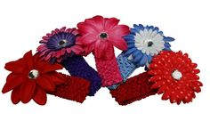 Generic Children's Assorted Flower Headband With Soft Stretch Crochet And Alligator Clip(Pack Of 5) Size:11'X4.5'X1' * Click image to review more details.
