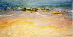 'Comfort' ~painting by Maya Bukhina The sea breathes a little...Sun... The sea glitters and shines a golden color sand to ......