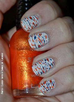 Florida Gator nails; orange and blue