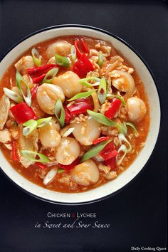 Chicken and Lychee in Sweet and Sour Sauce