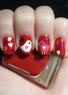 Love birds manicure. I'm not coordinated enough to do this myself, but I love it. The birds remind me of Twitter, where my boyfriend and I found each other. Birds are the coolest, because they can poop on people's heads.