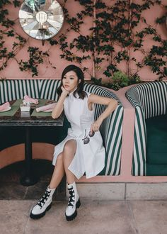 LA Summer Guide – http://tsangtastic.com   Instagram @tsangtastic  Acler, White Shirt Dress, Gucci Rounded Sunglasses, Ellery Platform Ankle Boots, Beverly Hills Hotel