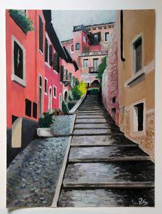 """Originales Ölgemälde """"Verona"""" impressionistische Landschaft auf Papier. Ricardo Garces"""