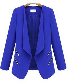 Blazer zippé manche longue -bleu  13.18