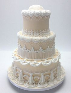Cake decorating isn't quite as hard as it looks. Listed below are a couple of straightforward suggestions and tips to get your cake decorating job a win Ivory Wedding Cake, Country Wedding Cakes, Wedding Cake Photos, Elegant Wedding Cakes, Elegant Cakes, Beautiful Wedding Cakes, Gorgeous Cakes, Wedding Cake Designs, Pretty Cakes