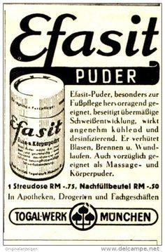 Original-Werbung/ Anzeige 1943 - EFASIT FUSSPUDER / TOGAL WERK MÜNCHEN - ca. 45 x 70 mm