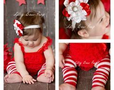 Red & White Christmas Outfit-Lace Petti Romper-Leg Warmers-Headband SET-Baby Girl-Newborn Girl-Infant-Toddler-Baby Girl Clothes-Stockings
