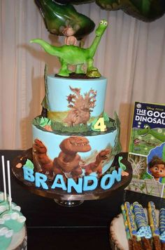 The Good Dinosaur birthday party cake! See more party planning ideas at CatchMyParty.com!