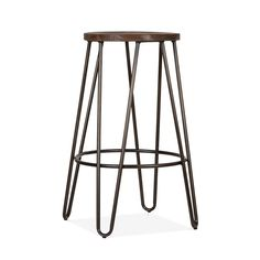 Cult Living Hairpin Stool - Gunmetal with Dark Elm Wood Seat 66cm