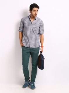 HRX Men Teal Green Slim Fit Chino Trousers
