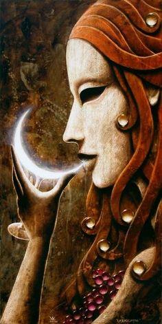 Come drink from the wisdom of the moon - Goddess Sacred Feminine, Divine Feminine, Fantasy Kunst, Fantasy Art, Moon Magic, Illustration, Moon Goddess, Wow Art, Gods And Goddesses
