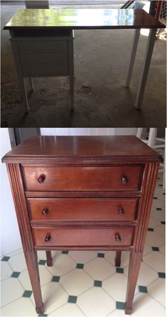 Old hallway/sewing table turned make-up table Sewing Table, Dresser, Antiques, Projects, How To Make, Furniture, Home Decor, Log Projects, Homemade Home Decor