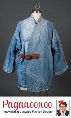Boro Inspired Jean Jacket by Paganoonoo on Etsy