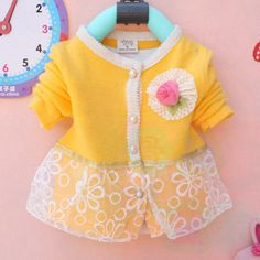 Kids clothes new 2014 autumn Girls long sleeved t shirt Girls baby dress kids clothing dress chiffon children's lace cardigan-in Dresses fro...
